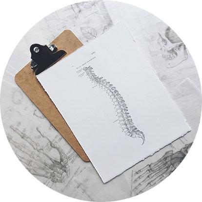 Ein Klemmbrett mit einem Blatt mit einer Wirbelsäule